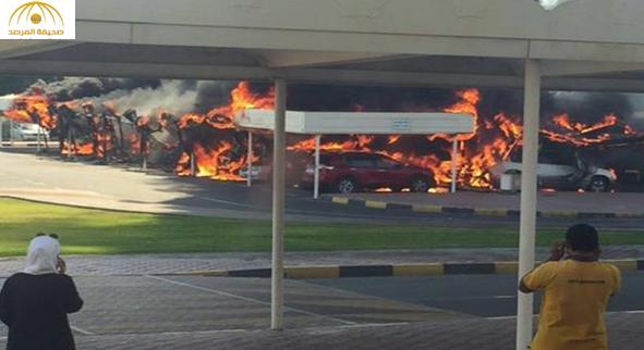 بالصور والفيديو: حريق في مواقف جامعة الشارقة