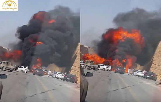 بالفيديو:لحظة انفجار مروع لسيارة بالرياض