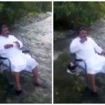 بالفيديو:سعودي يشرب شاي داخل جدول ماء… وفجأة!!