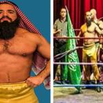 اتهام مصارع بالعنصرية لارتدائه الزي العربي ورفع علم السعودية في بريطانيا-صور