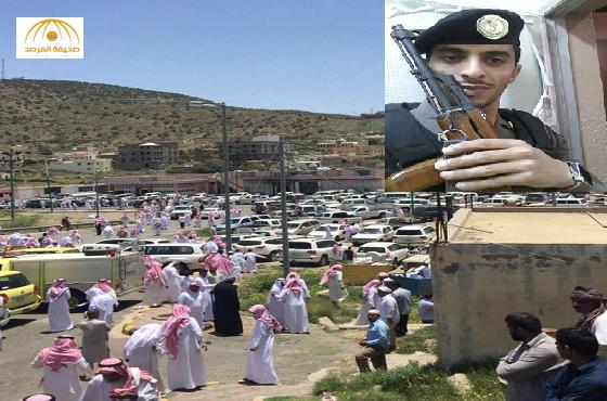 """بالصور:جموع تشيع الشهيد """"الحارثي"""" بمقبرة الحمه بميسان الطائف"""