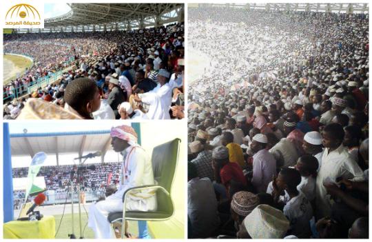 شاهد : امتلاء مدرجات ملعب كرة في تنزانيا لحضور حفل مسابقة للقرآن الكريم