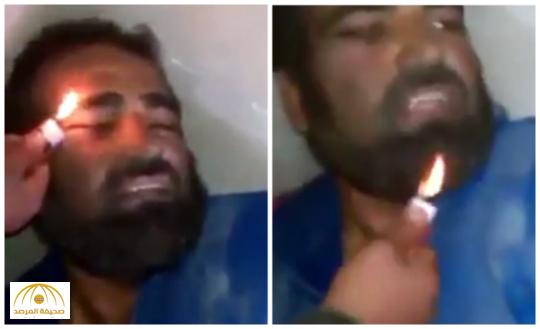 بالفيديو : ميليشيات الحشد الشعبي تحرق لحية رجل سني وإمام مسجد بالولّاعة