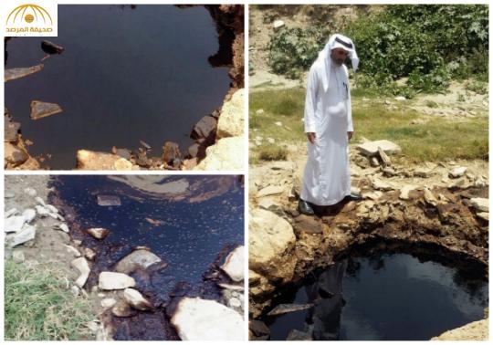 بالفيديو و الصور: مواطن يتفاجأ بخروج النفط بجوار منزله