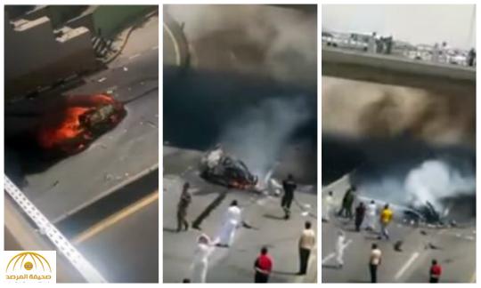 حادث مروع واحتراق السيارة وتفحم سائقها في الأحساء-فيديو