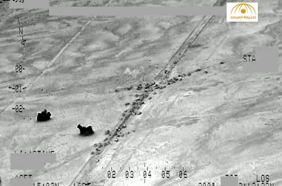 """بالفيديو : شاهد  مقتل العشرات من """"داعش"""" إثر غارة على قافلة من 500 مركبة تفر من الفلوجة"""