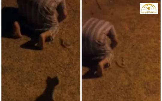 بالفيديو: شاهد رد فعل شاب رمي عليه صديقه ثعبان أثناء الصلاة