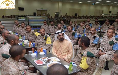 بالصور: محمد بن راشد يزور مجندين بمعسكر تابع لحرس الرئاسة ويتناول الإفطار معهم