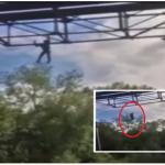 بالفيديو:شاب يسقط من جسر بعد التقاط سيلفي