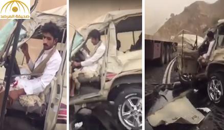 شاهد: مواطن يوثق لحظة اصطدام سيارتهم بشاحنة وكيف نجو باعجوبة