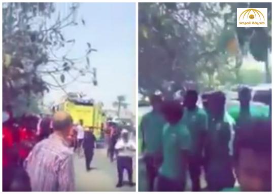 بالفيديو:حريق يلتهم فندقًا يقيم فيه المنتخب السعودي للشباب في قطر