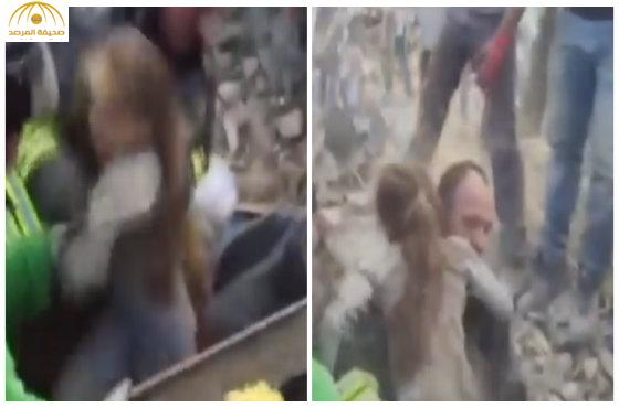 بالفيديو:لحظة خروج طفلة إيطالية ظلت 17 ساعة تحت الأنقاض