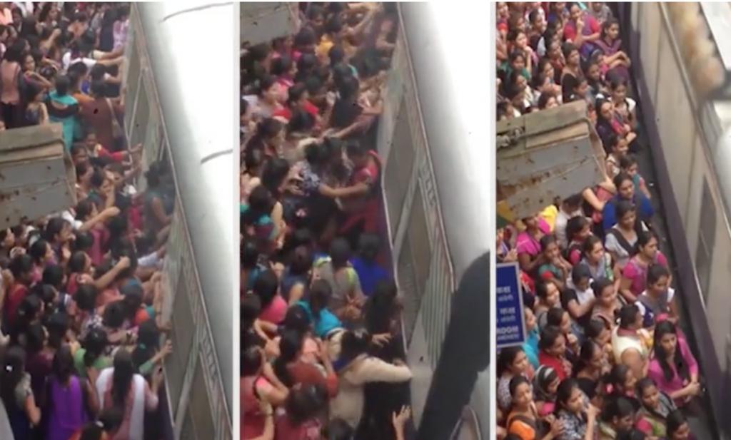 شاهد: فيديو صادم لحظة صعود النساء لقطار في الهند