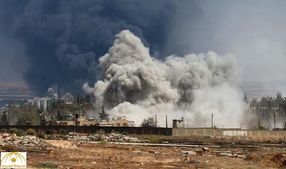 الطائرات الروسية تمطر حلب بالصواريخ والقنابل العنقودية ــ فيديو