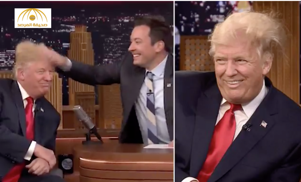 """بالفيديو.. شاهد مذيع """"ينفش"""" شعر دونالد ترامب على الهواء مباشرة ويعرّضه لموقف محرج"""