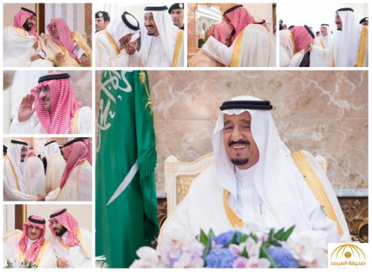 بالصور: خادم الحرمين يستقبل المهنئين بعيد الأضحى المبارك