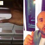 """بالفيديو: يزيد الراجحي """"يهايط"""" بدولاب مليئ بأكثر من 100 جهاز آيفون7 ويثير سخط المتابعين"""