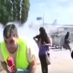 بالفيديو:مراسل تلفزيوني ينجو من صاروخ  بأعجوبة