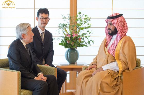 بالصور:امبراطور اليابان يستقبل في قصره ولي ولي العهد