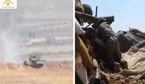 شاهد .. لحظة تدمير دبابة تابعة لميليشيات إيران في ريف حلب