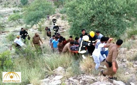 بالصور: سقوط دورية بمنحدر جبلي و مصرع رجل أمن وإصابة آخر بالعارضة