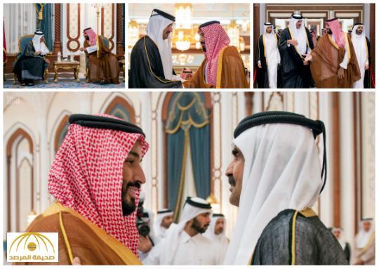 بالصور : ولي ولي العهد يقدم العزاء في وفاة الشيخ خليفة بن حمد آل ثاني