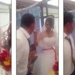 فيديو: شاهد.. ردة فعل عريس بعد ممازحة عروسه بقطعة الكيك  !