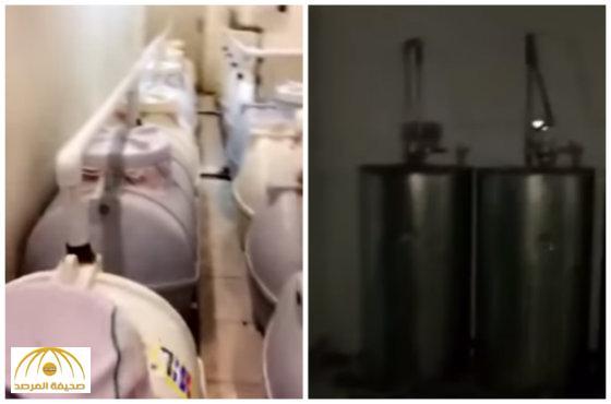 بالفيديو:الدوريات الأمنية تداهم أكبر مصنع خمور في الرياض
