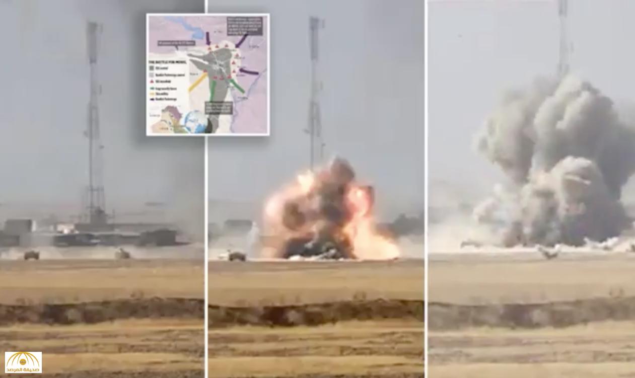 """شاهد : مطاردة شاحنة""""داعشية"""" لدبابة عراقية بالموصل وانفجار هائل"""
