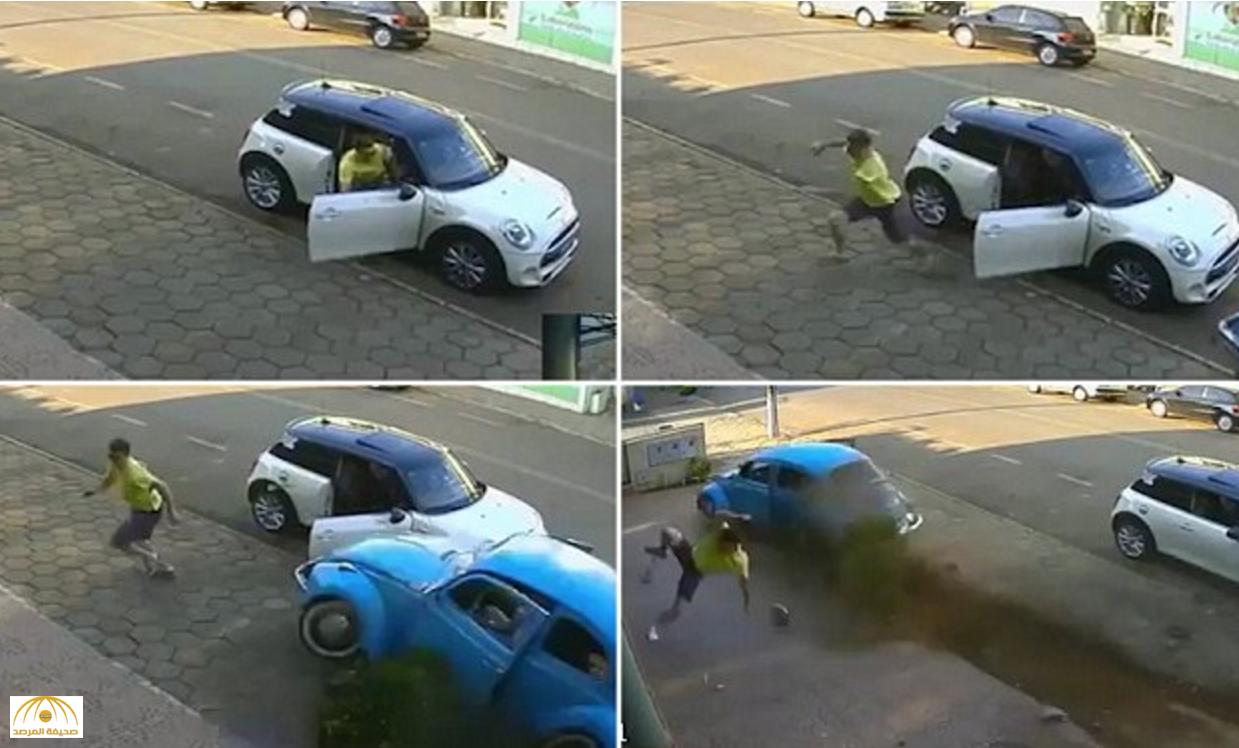 """بالفيديو: شاب يتفادى الاصطدام بـ""""سيارة"""" كادت تودي بحياته بقفزة في البرازيل"""