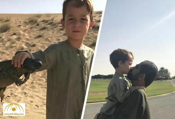 "بالصور : نجل محمد بن راشد يصطاد "" ضب "" خلال نزهة بالصحراء"