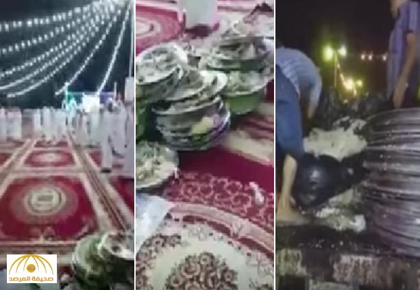 """بالفيديو: شاهد ماذا فعلت العمالة مع ولائم طعام تبقت من """"حفل زفاف""""!"""
