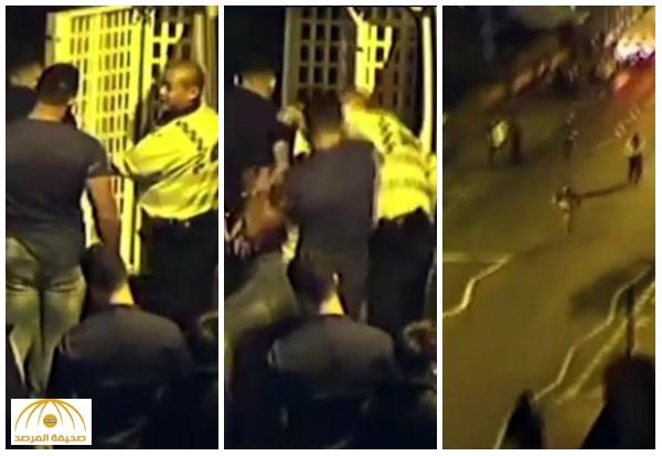 """بالفيديو:  صاعق كهربائي  يسقط  شخص """"مفتول العضلات"""" لكم شرطي بريطاني على وجهه"""