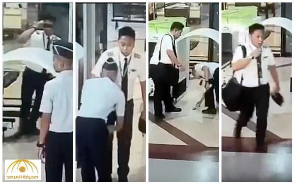 """بالفيديو : طيار إندونيسي مخمور """"يترنح"""" أمام نقطة تفتيش في مطار سورابايا"""