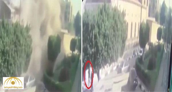 بالفيديو .. شاهد قوة الانفجار في اللحظات الأولى لحادث تفجير الكنيسة في مصر