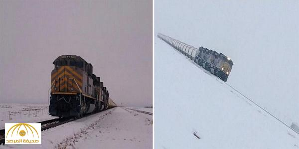 شاهد .. قطار سار للمعادن يسير وسط الثلوج بـ « الشمالية » – فيديو وصور