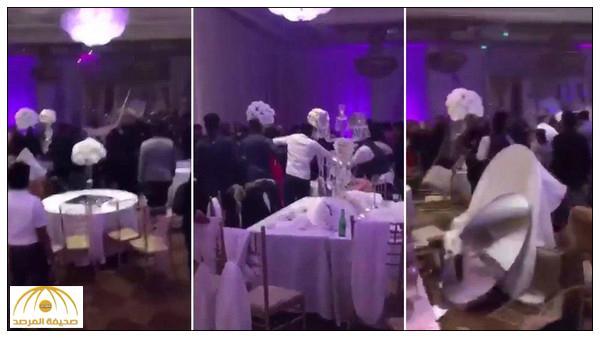 بالفيديو : حفل زفاف ينتهي بمشاجرة جماعية بعد توزيع صور فاضحة للعروس