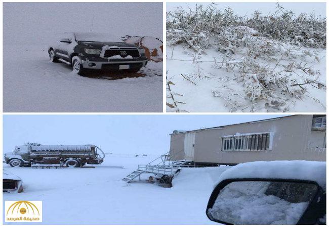 بالفيديو والصور..أهالي طريف يستيقظون قبيل الفجر لمشاهدة تساقط الثلوج