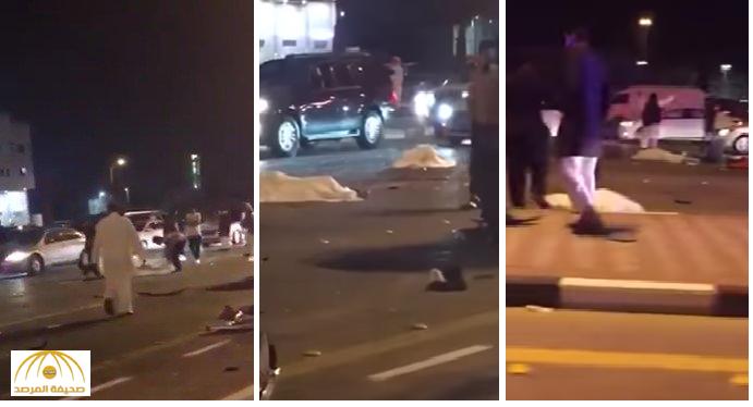 بالفيديو :حادث مروع بين 3 سيارات على طريق الملك فهد ..و مصرع 5 أشخاص بالدمام
