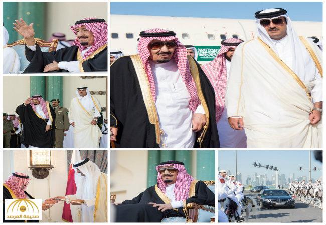 بالفيديو والصور:خادم الحرمين يصل إلى الدوحة