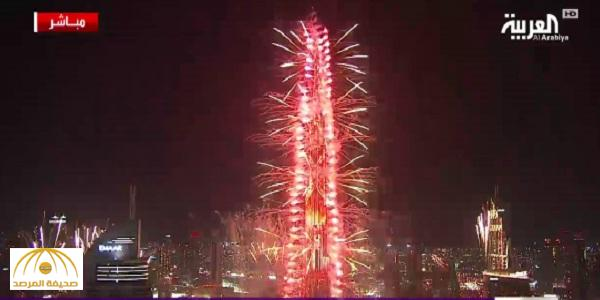بالفيديو : شاهد ألعاب برج خليفة النارية احتفالاً بالعام الجديد