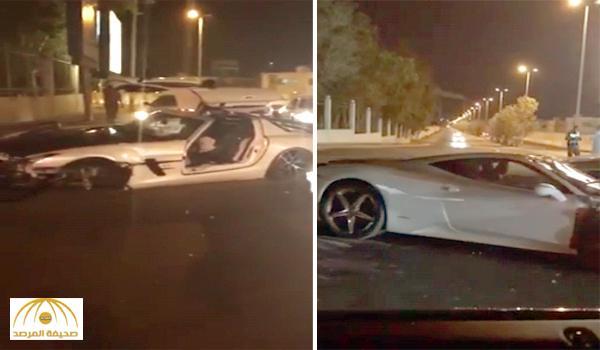 أغلى حادث في جدة .. بالفيديو : اصطدام سيارة فيراري و مرسيدس SLS على طريق الأمير سلطان