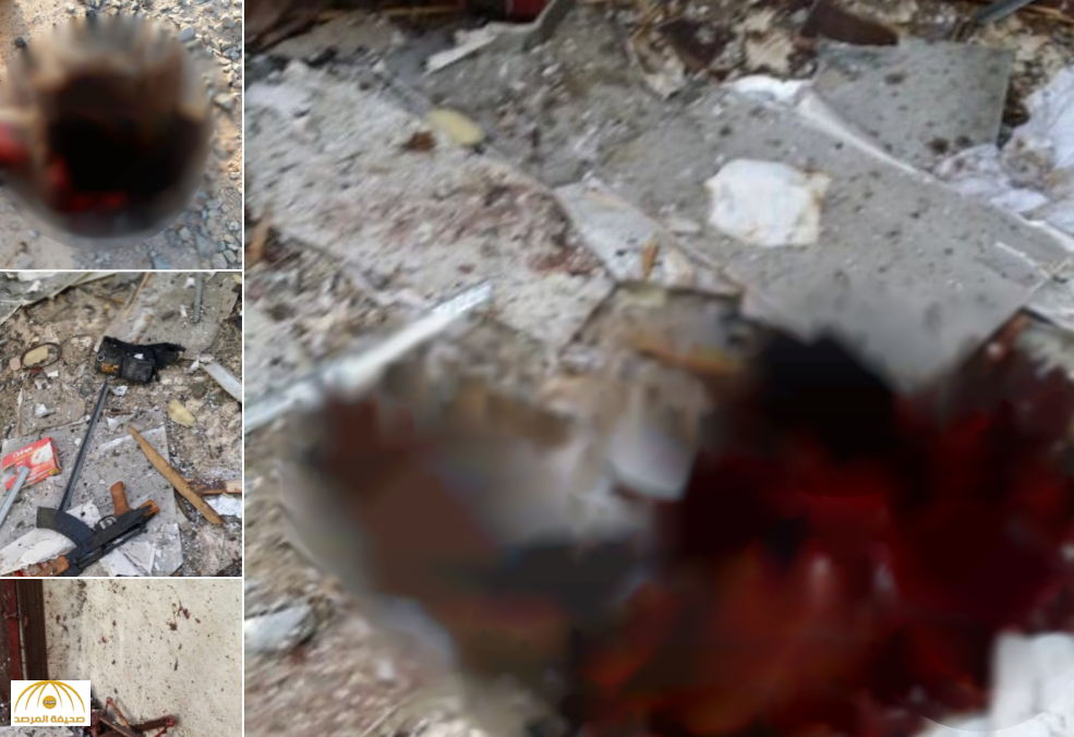 لقطات مصورة توثق أشلاء جثتي الإرهابيين خلال العملية الأمنية بالحرازات!!