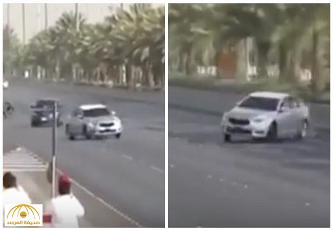 بالفيديو:قائدي سيارات يمارسون التفحيط في طريق الملك خالد بالرياض.. والمرور يطيح بهم-فيديو