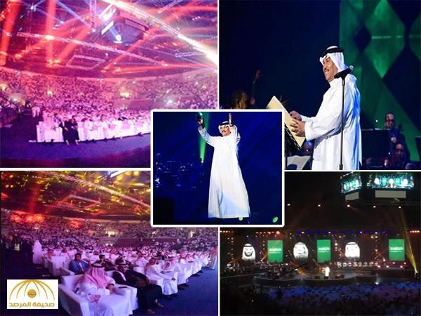 """بالفيديو: محمد عبده يلهب حماس الجمهور بأغنية """"فوق هام السحب"""" ويرمي عقاله في حفل ملعب الجوهرة بجدة"""