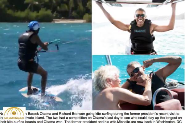 """بالصور و الفيديو .. ظهور مختلف لـ """"أوباما"""" في أسبوع الاسترخاء بجزيرة صديقه الملياردير """"برانسون""""!"""