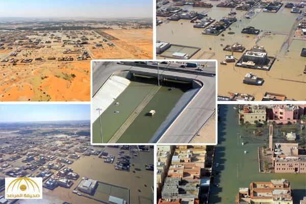 شاهد .. صور من فوق أجواء المنطقة الشرقية تكشف مستوى الأضرار التي خلفتها الأمطار