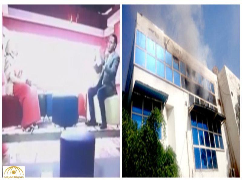 """بالفيديو والصور:اشتعال قناة تلفزيونية سودانية """"على الهواء""""!"""