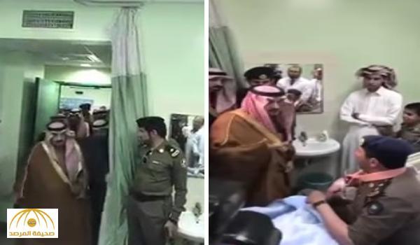"""بالفيديو : أمير الرياض يطمئن على المقدم """"بن هقشة"""" المصاب في حادث الموكب"""