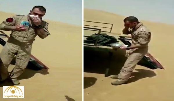 شاهد.. أول فيديو للطيار الأردني بعد سقوط طائرته في نجران .. لماذا التقط جوال أحد منقذيه؟!